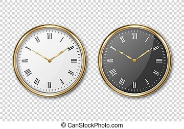 Vector 3d Realistic Classic Metal Golden Wall Office Clock Icon Set Closeup Isolated on Transparent Background. White and Black Dial with Roman Numeral. Design Template for Mockup. Front or Top View.