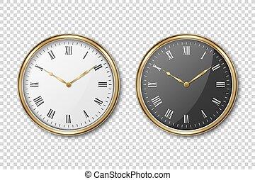 Vector 3d Realistic Classic Metal Golden Wall Office Clock ...