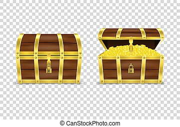 Vector 3d Realistic Closed and Opened Retro Vintage Antique Old Treasure Wooden Pirate Dower Chest with Glow Gold Coins and Padlock Closeup Isolated on Transparent Background. Design Template