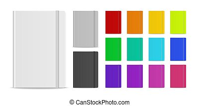 Vector 3d Realistic Closed Blank Paper Notebook with Elastic Band Set Isolated on White Background. Design Template of Copybook, Mockup, Advertise, Logo Print. Front View