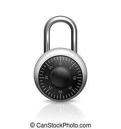 Vector 3d Realistic Closed Metal Steel Chrome Silver Padlock with Reflection Icon Closeup Isolated on White Background. Design Template of Lock, Protection Privacy Concept, Web and Mobile Apps, Logo