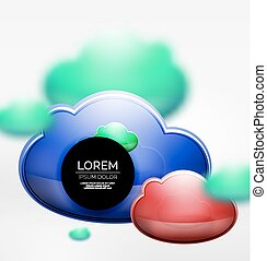 Vector 3d realistic clouds in grey space, digital technology...