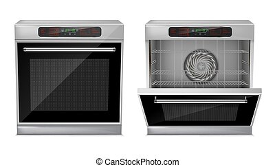 Vector 3d realistic compact built-in oven