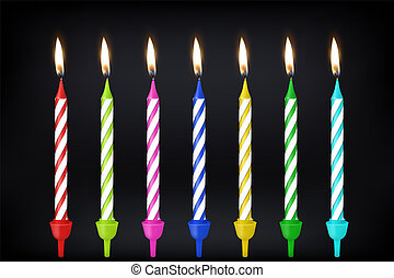 Vector 3d realistic different birthday party colofful wax paraffin burning cake candle icon set closeup on black background. Design template, clipart for graphics