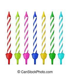 Vector 3d realistic different birthday party colofful wax ...