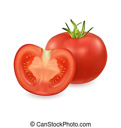 Vector 3d realistic different tomato icon set closeup isolated on white background. Whole and half of a tomato. Design template, clipart for graphics