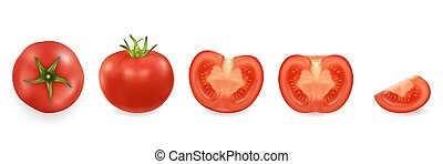 Vector 3d realistic different tomato icon set closeup isolated on white background. Whole, quarter, half of a tomato and top view. Design template, clipart for graphics