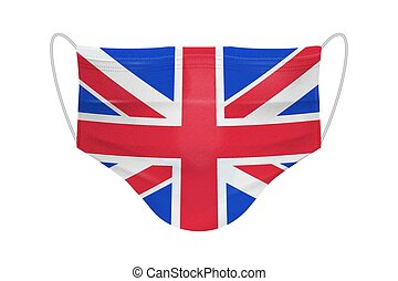 Vector 3d Realistic Disposable Breathing Respiratory Medical Hospital Pollution Protect Face Mask with Flag of United Kingdom Closeup Isolated. Coronavirus Quarantine. 2019-nCoV, COVID-2019 concept