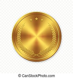 Vector 3d Realistic Gold blank coin isolated
