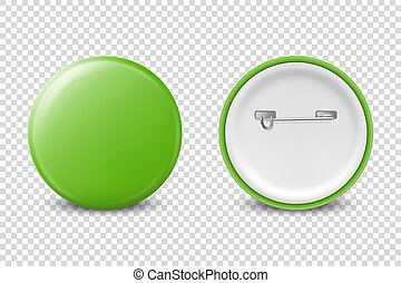 Vector 3d Realistic Green Metal, Plastic Blank Button Badge Icon Set Isolated on Transparent Background. Front and Back Side View. Template for Branding Identity, Logo, Presentations. Mock-up