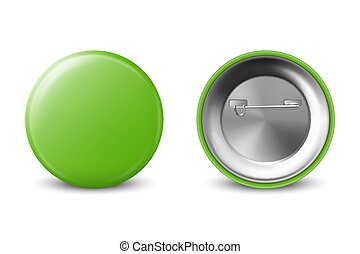 Vector 3d Realistic Green Metal, Plastic Blank Button Badge Icon Set Isolated on White Background. Front and Back Side View. Template for Branding Identity, Logo, Presentations. Mock-up