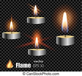 vector 3d realistic grey metallic colored candle frame types set