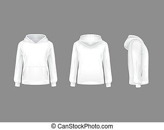Vector 3d realistic hoodie sweatshirt white mockup