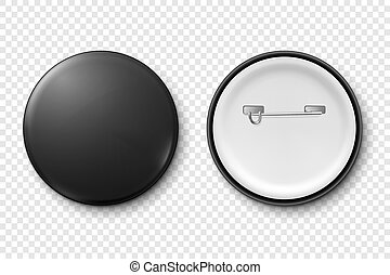 Vector 3d Realistic Metal or Plastic Black Blank Button Badge Icon Set Isolated on Transparent Background. Top and Back Side View. Template for Branding Identity, Graphic Presentations. Mock-up