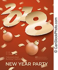 Vector 3d realistic New Year Party invitation.