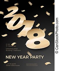 Vector 3d realistic New Year Party invitation