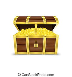 Vector 3d Realistic Opened Retro Vintage Antique Old Treasure Wooden Pirate Dower Chest with Glow Gold Coins Closeup Isolated on White Background. Design Template for Web, Apps, Game. Winner Concept