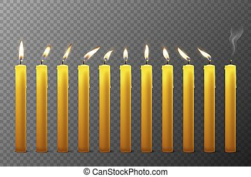 Vector 3d Realistic Orange Paraffin or Wax Burning Candles ...