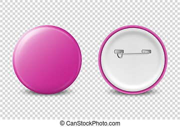 Vector 3d Realistic Pink Metal, Plastic Blank Button Badge Icon Set Isolated on Transparent Background. Front and Back Side View. Template for Branding Identity, Logo, Presentations. Mock-up