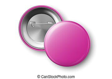 Vector 3d Realistic Pink Metal, Plastic Blank Button Badge Icon Set Isolated on Transparent Background. Top View - Front and Back Side. Template for Branding Identity, Logo, Presentations. Mock-up