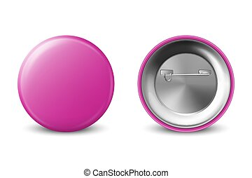 Vector 3d Realistic Pink Metal Plastic Blank Button Badge Icon Set Isolated on White Background. Front and Back Side View. Template for Branding Identity, Logo, Presentations. Mock-up