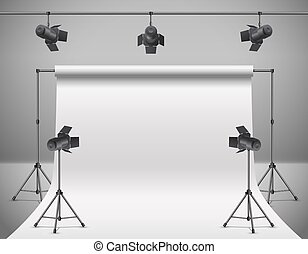 Vector 3d realistic professional photo, video studio