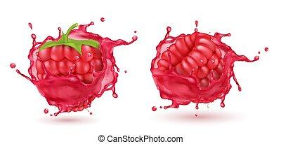 Vector 3d realistic raspberries in splashing juice