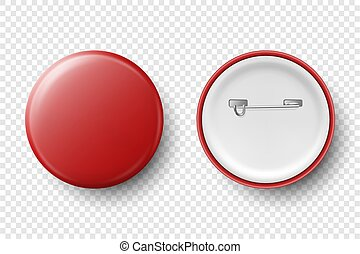 Vector 3d Realistic Red Metal, Plastic Blank Button Badge Icon Set Isolated on Transparent Background. Top View - Front and Back Side. Template for Branding Identity, Logo, Presentations. Mock-up