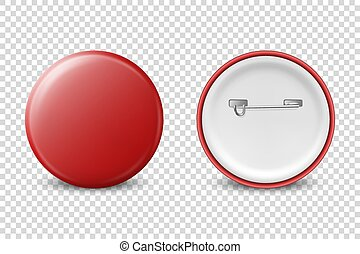 Vector 3d Realistic Red Metal, Plastic Blank Button Badge Icon Set Isolated on Transparent Background. Front and Back Side View. Template for Branding Identity, Logo, Presentations. Mock-up