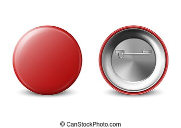 Vector 3d Realistic Red Metal, Plastic Blank Button Badge Icon Set Isolated on White Background. Front and Back Side View. Template for Branding Identity, Logo, Presentations. Mock-up
