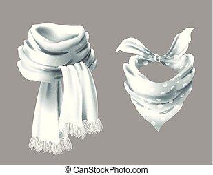 Vector 3d realistic red neck scarf, neckerchief - Vector 3d...