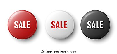 Vector 3d Realistic Red, White, Black Metal, Plastic Button Badge Set Isolated on White Background. Top View. Front and Back Side. Sale Template for Branding Identity, Logo, Presentations. Mock-up