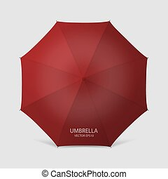 Vector 3d Realistic Render Red Blank Umbrella Icon Closeup Isolated on White Background. Design Template of Opened Parasol for Mock-up, Branding, Advertise etc. Top View