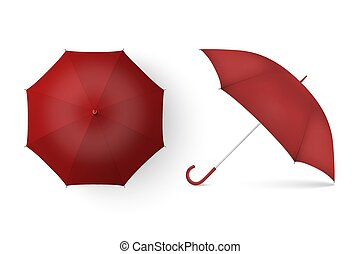 Vector 3d Realistic Render Red Blank Umbrella Icon Set Closeup Isolated on White Background. Design Template of Opened Parasols for Mock-up, Branding, Advertise etc. Top and Front View