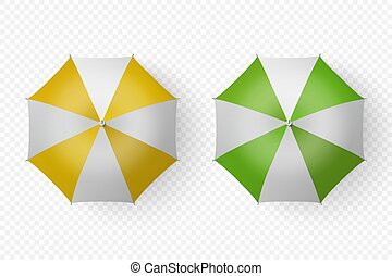 Vector 3d Realistic Render White, Yellow, Green Strip Blank Umbrella Icon Set Closeup Isolated on Transparent Background. Design Template of Opened Parasols for Mock-up, Branding, Advertise. Top View