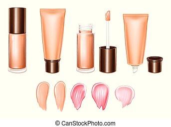 Vector 3d realistic set of lipsticks - liquid, cream, smears of product in different colors. Fashion template, mockup