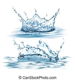 Vector 3d realistic set with blue water splashes