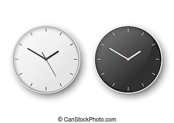 Vector 3d Realistic Simple White Round Wall Office Clock Set. White and Black Dial. Closeup Isolated on White Background. Design Template, Mock-up for Branding, Advertise. Front or Top View.