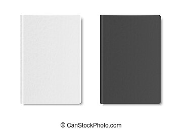 Vector 3d Realistic Textured White and Black Closed Blank Paper Notebook Set Isolated on White Background. Design Template of Copybook for Mockup, Logo Print. Top View