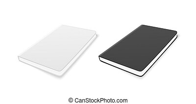 Vector 3d Realistic White and Black Closed Blank Paper Notebook Set Isolated on White Background. Design Template of Copybook for Mockup, Advertise, Logo Print. Top Isometric View