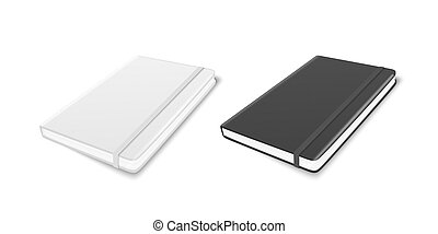 Vector 3d Realistic White and Black Closed Blank Paper Notebook with Elastic Band Set Isolated on White Background. Design Template, Copybook, Mockup, Advertise, Logo Print. Top Isometric
