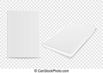 Vector 3d Realistic White Closed Blank Paper Notebook Set Isolated on Transparent Background. Design Template of Copybook, Diary for Mockup, Advertise, Logo Print. Front, Top View