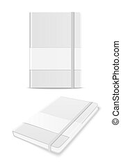 Vector 3d Realistic White Closed Blank Paper Notebook with Label Set Isolated on White Background. Design Template of Copybook with Elastic Band for Mockup, Advertise, Logo Print. Front, Top View