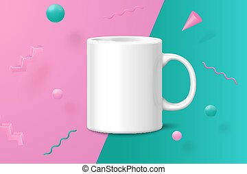 Vector 3d realistic white cup abstract scene