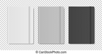 Vector 3d Realistic White, Gray, Black Closed Blank Paper Notebook Set Isolated on Transparent Background. Design Template of Copybook with Elastic Band for Mockup, Logo Print. Top View