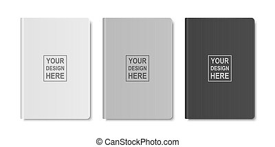 Vector 3d Realistic White, Gray, Black Closed Blank Paper Notebook Set Isolated on White Background. Design Template of Copybook for Mockup, Logo Print. Top View
