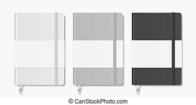 Vector 3d Realistic White, Gray, Black Closed Blank Paper Notebook with Bookmark Set Isolated on White Background. Design Template of Copybook with Elastic Band for Mockup, Logo Print. Top View