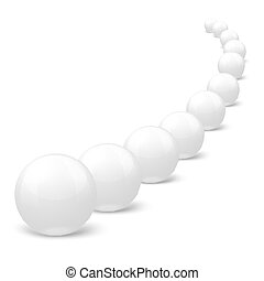 Vector 3D realistic white marble balls in a row