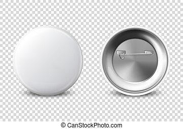 Vector 3d Realistic White Metal, Plastic Blank Button Badge Icon Set Isolated on Transparent Background. Front and Back Side View. Template for Branding Identity, Logo, Presentations. Mock-up