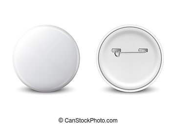 Vector 3d Realistic White Metal, Plastic Blank Button Badge Icon Set Isolated on White Background. Front and Back Side View. Template for Branding Identity, Logo, Presentations. Mock-up